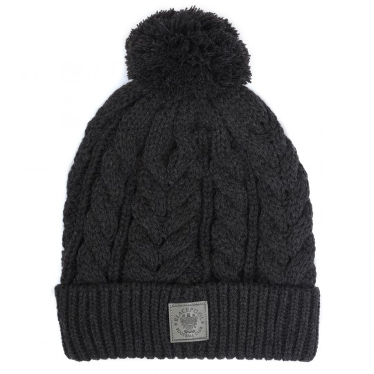 Grey Cable Knit Bobble Hat