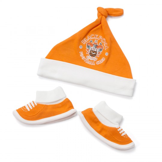 Hat & Bootie Set Tangerine and White