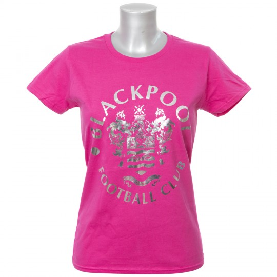 Ladies Silver Foil Tshirt Hot Pink