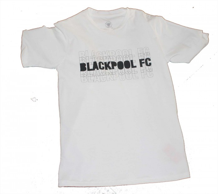 Adult T Shirt Two Tone Blackpool FC White