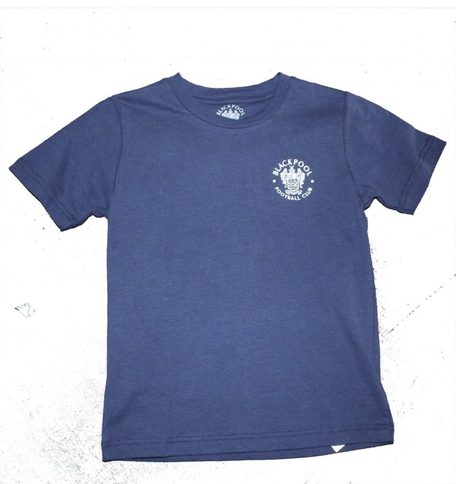 Adult T Shirt Navy Blue Small Embroided Crest