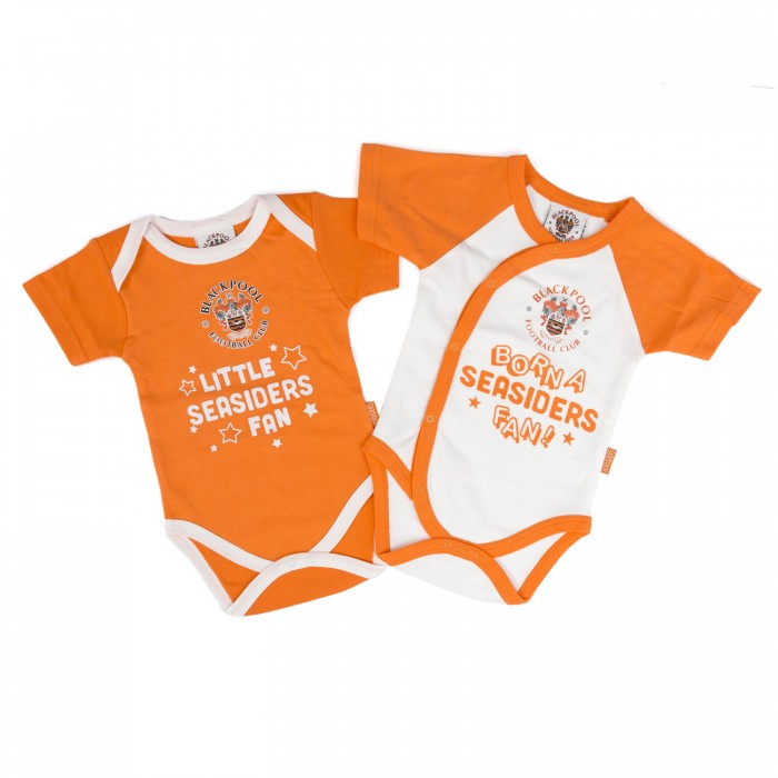 Pack of Two Body Suits Tangerine and White