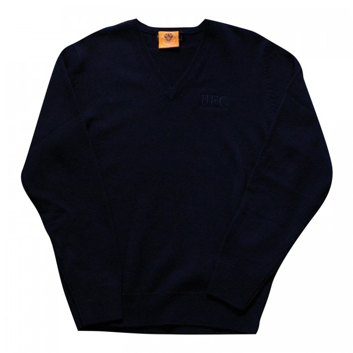 Navy V Neck Jumper with BFC Logo