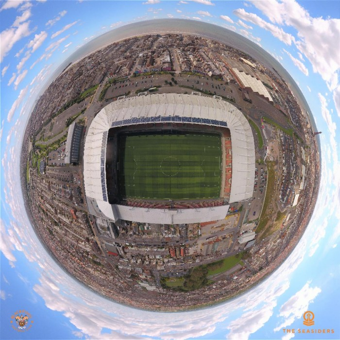 Drone Photographic Print of Bloomfield Road